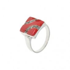 Кольцо с кораллом k14139cor
