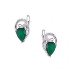 Серьги с зеленым агатом c8p3463grag